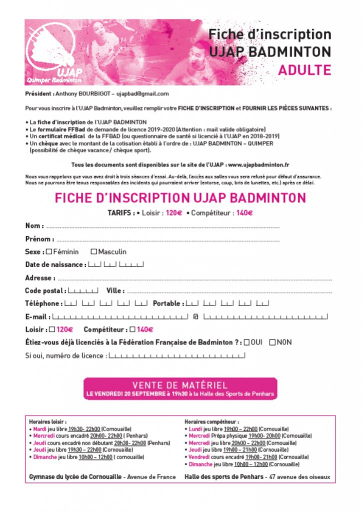 Bulletin inscription adulte